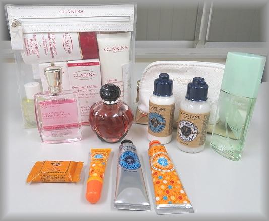 クラランス、ディオール、ランコム、ロクシタンのスキンケアと香水