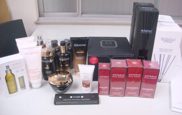 シャネル アンテウスの香水・バスグッズ、Millefioriのルームフレグランスとボディケア、クラランスのボディケア、ケラスターゼ CHのヘアケア